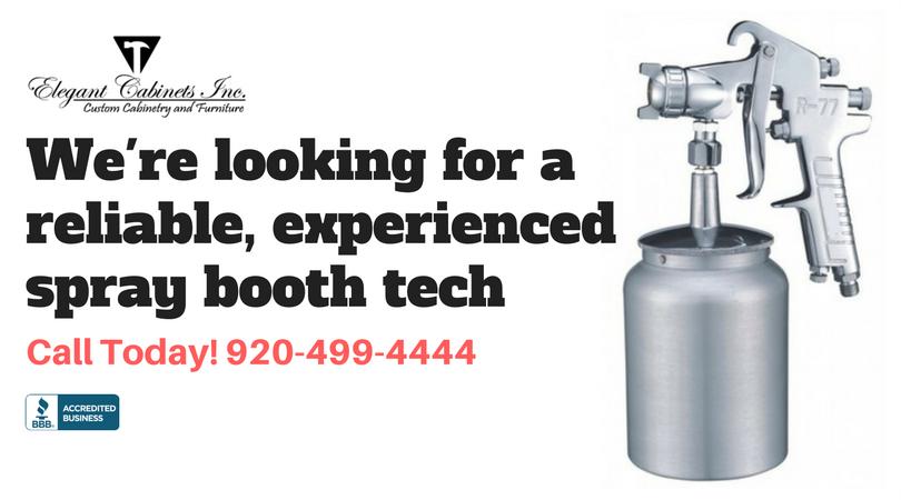 Hiring Spray Booth Technician - Elegant Cabinets - Green Bay, WI